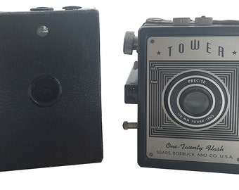 Instant Box Camera Collection, Kodak Rainbow Hawkeye, WORKING Tower 120 Camera with Manual, Great Condition, Wedding Decor