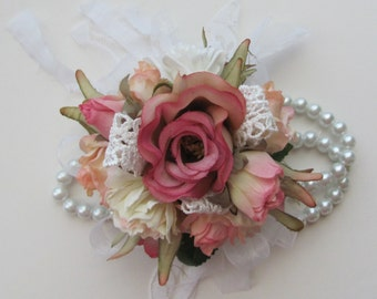 Wrist Corsage Shabby Chic Floral Bracelet for Weddings, Proms and Special Occasions Wrist Corsage Has a Vintage Look