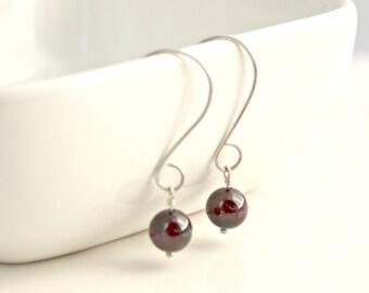 Sterling Silver and Garnet Earrings, Modern, Simple, January Birthstone / E20