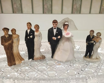 4 Wedding bisque bride and groom cake toppers