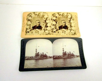 U S Battleship Oregon & Rear Admiral Dewey Stereoview Cards 2 for 1 United States Navy USN Vintage 1898 Photo Paper Ephemera Stereograph
