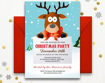 funny christmas party invitations printable reindeer kids christmas party invitations deer holiday party invitation - Funny Christmas Party Invitations