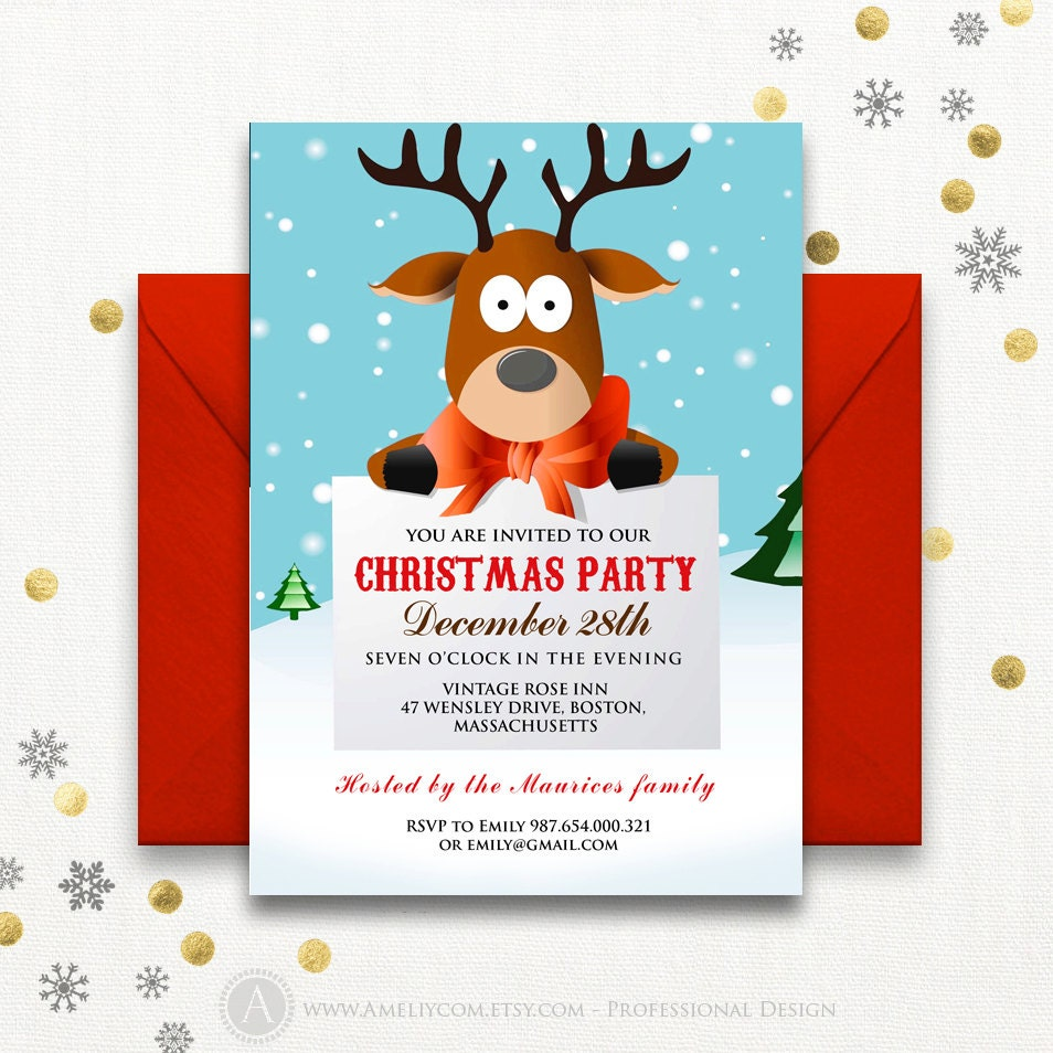 Christmas Holiday Party: Funny Christmas Party Invitations Printable Reindeer Kids