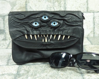 Cross Body Handbag Purse With Face Messenger Bag Harry Potter Labyrinth Three Eye Monster Black Leather Goth