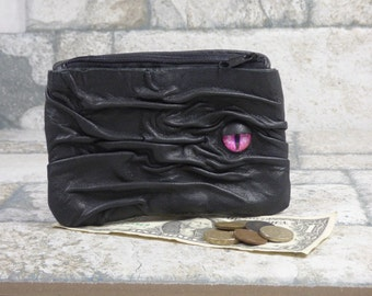 Large Zippered Change Purse Black Leather Coin Purse Zippered Pouch With Face  Hocus Pocus