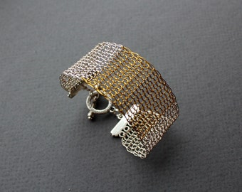 Silver Brass Wire Crocheted Cuff Bracelet/ Lacy Modern Everyday Statement Bracelet/ Two Colors Simple Stylish Bracelet. Made to order.