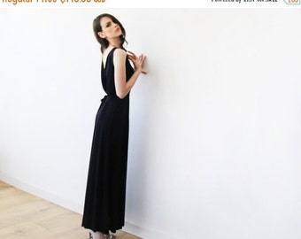 Maxi black formal gown with a sexy slit, Black open back bridesmaids dress