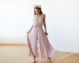 Pink blush wide-pants jumpsuit, Blush bridesmaids jumpsuit