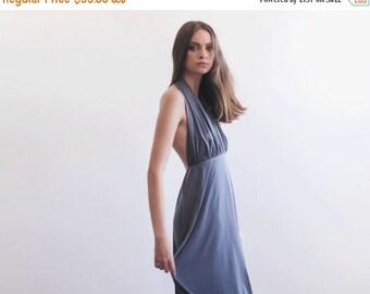 Backless midi grey dress, Halter neck midi dress, Bridesmaids knee length dress