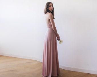 Blush pink halter neck maxi gown, Backless maxi blush dress, Bridesmaids blush maxi dress