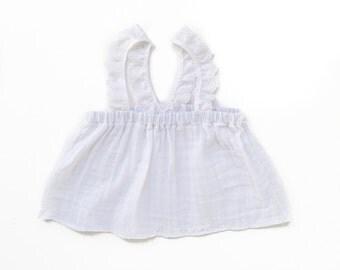 Breezy Babe Crop Top. White cotton gauze, cotton eyelet trim shoulder straps. www.brownsugarbeach.com