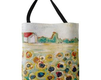 Sunflower Fields MEDIUM Tote Bag