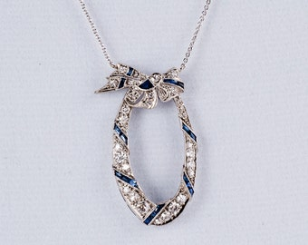 Antique Art Nouveau 14 K White Gold Diamond and Sapphire Pendant