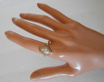 Antique Solid 10K Gold Filigree Sparkling CZ Ring Size 6 3/4
