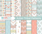 ON SALE - Digital Paper - Navajo / Aztec / Ethnic / Tribal / Native American Indian / Geometric Patterns - Instant Download