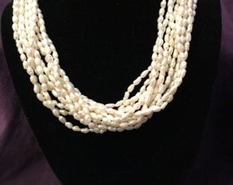 1980's freshwater pearl 12 strand necklace with gold filled clasp