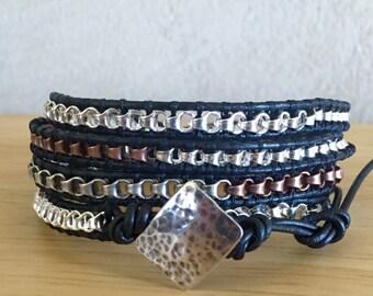 Multi-Colored Chain Four Wrap Bracelet