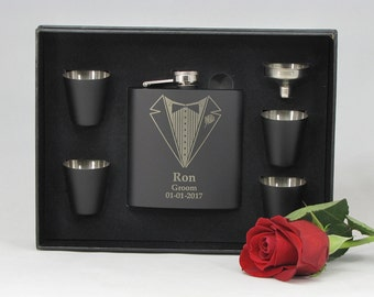 13 Personalized Groomsmen Gift, 13 Engraved Flask Gift Sets, Stainless Steel Flask, Personalized Best Man Gift, 13 Flask Sets