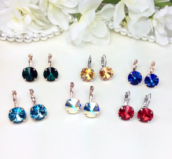 Swarovski Crystal 12MM Round Drop Earrings - Choose Your Favorite Color and Finish - Great Gift! - FREE Gift Wrap & FREE SHIPPING