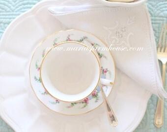 Vintage, Embroidered Cotton Napkin, Tea Party, Table Linen
