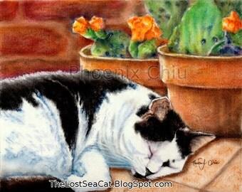 Black and White Tuxedo Cat Art Tuxedo Cat With Cactus Greeting Card By Phoenix Chiu