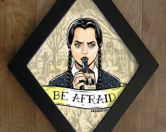 Wednesday Addams ( Christina Ricci) from The Addams Family. Be afraid diamond framed print.