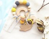Baby teething ring grey and yellow rattle Waldorf toy with handmade animal or tree pendant - choose your own - whale, bear