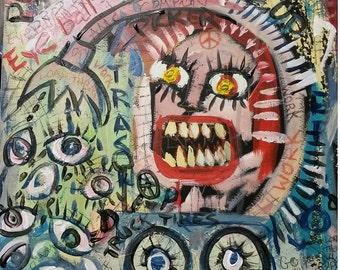 "Original Acrylic painting - Outsider art - Art Brut - Neo-Expression - Raw Art - ""EYEBALL PICKER"""