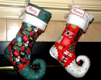 Christmas stocking with personalized name tag - elf stocking - set of 2