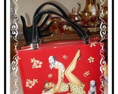 Pin Up Girl w Puppy Handbag - Vintage Red Trimmed w Rhinestones and Beads + Darling Puppies PR-058a-112614015