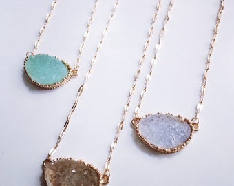 Dainty Druzy Necklace // Druzy Layering Necklace // Bridesmaid Jewelry // Bridesmaid Necklace