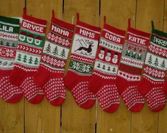Avialible 2017!!Hand knit Christmas Stocking Personalized Wool knit Red Green Grey White Deer Snowmen Santa Gnomes Snowflake decoration gift