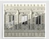 20% OFF SALE: Paris balcony - Paris illustration Art Home decor Wall decor Wall art Print Poster Drawing Modern Architectural drawing Grey F