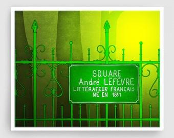 Paris Art Print - Square Andre Lefevre - Paris Print Illustration Home decor Nursery art Kids wall art Paris Poster Green Park