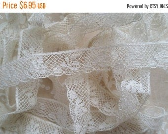 HUGE SALE Dainty Antique 1920's White Netted Lace Trim | 1/2"