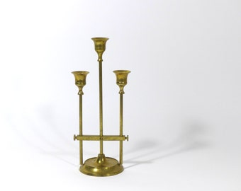 Vintage brass candle holder, mid century modern