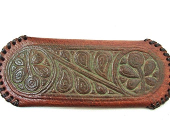 Vintage genuine leather case for glasses Embossed spectacle case