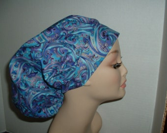 Gypsy Paisley Bouffant Scrub Hat Turquoise Blue Lavender Gold OR Surgical cap