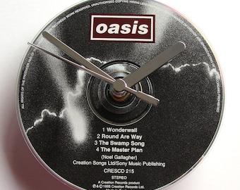 "OASIS DAY CD Clock, ""Wonderwall"", Recycled music cd single, Gift for, men, women, guys, rockers"
