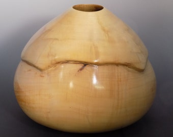 8 by 10 Inch Hand Carved Lathe Turned Silver Maple Hollow Form