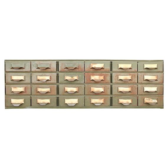 vintage industrial army green lyon parts cabinet. Black Bedroom Furniture Sets. Home Design Ideas