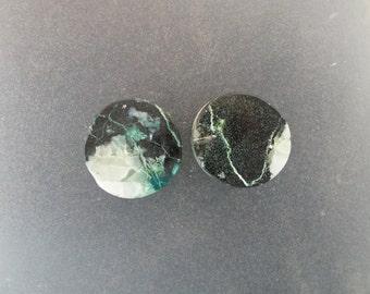 "Malachite Chrysocolla 3/4"", 19mm, 13mm thick one pair ear plugs"