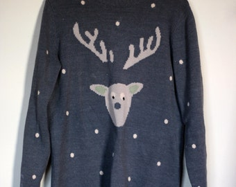 vintage ugly christmas sweater grey with buck head