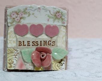 BLESSINGS,  mosaic wall art, gift