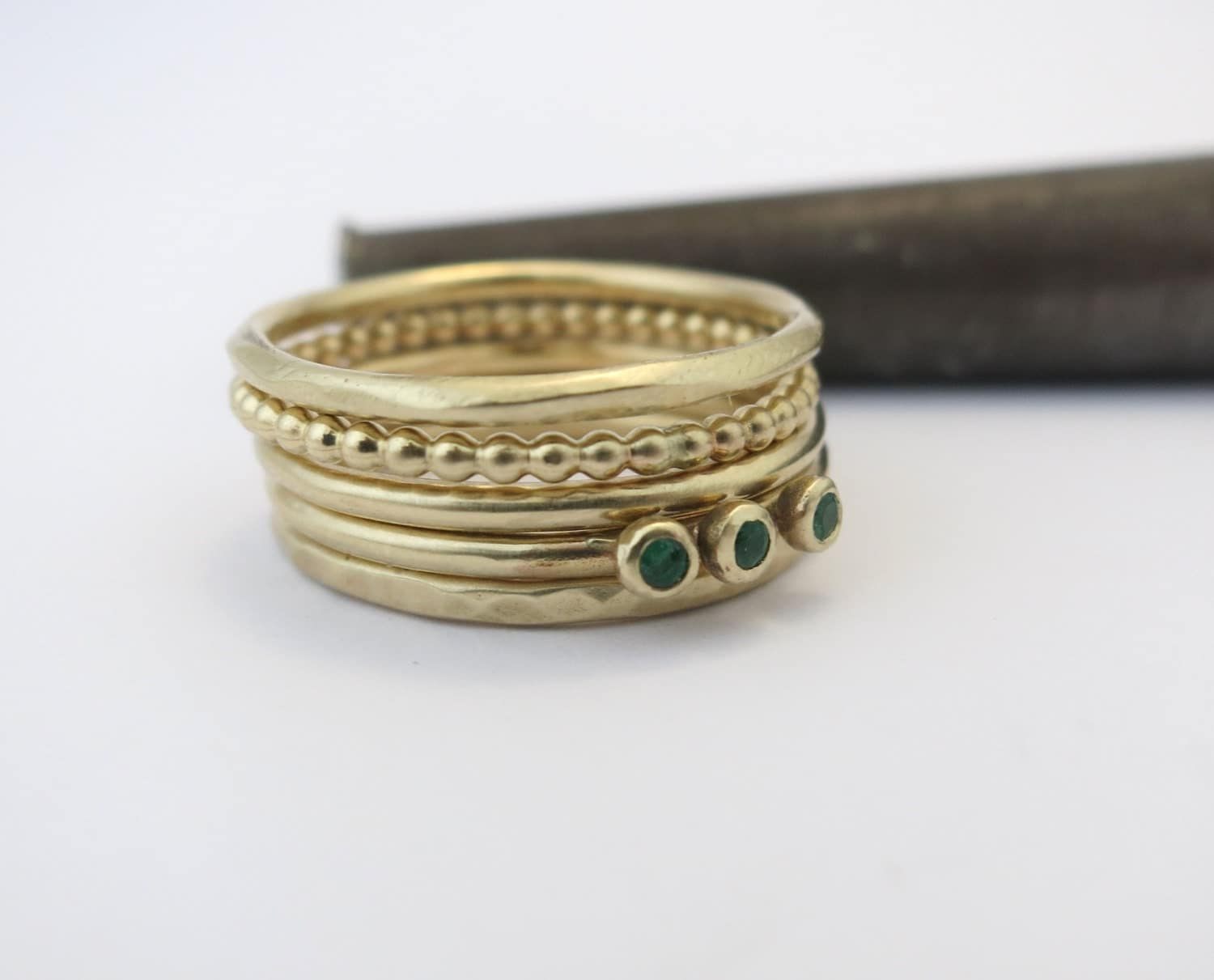 14k gold stacking rings set of 5 rings stackable rings. Black Bedroom Furniture Sets. Home Design Ideas
