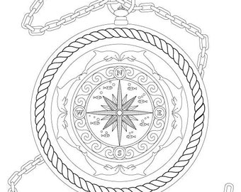 Nautical compass etsy for Adult coloring pages nautical