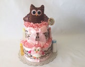 2 Layer Baby Owl Diaper Cake Gift Set-Pink