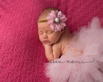 Pink and gold tutu set, pink tutu with matching pink and gold headband, newborn tutu, birthday tutu, cake smash tutu set, pink and gold