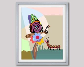 Butterfly Art Print, Butterfly Artwork, Wall Butterfly Art Nursery, Real Butterfly Art, Butterfly Pop Art, Caterpillar Art