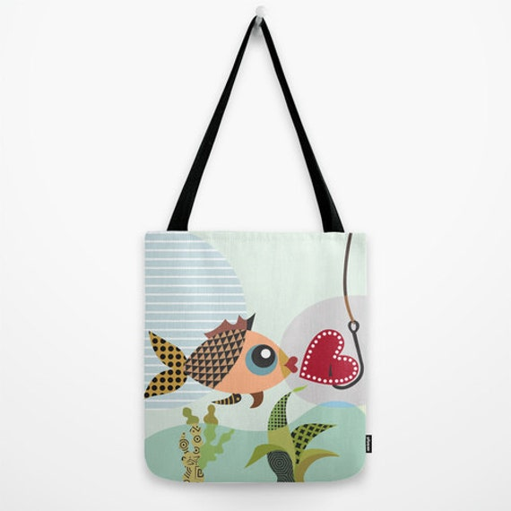 Fish Bag, Tote Bag, Valentines Day, Love Gift, Gift For Her, Marine Art, Fish Art, Fish Hook, Heart Gift, Red, Green
